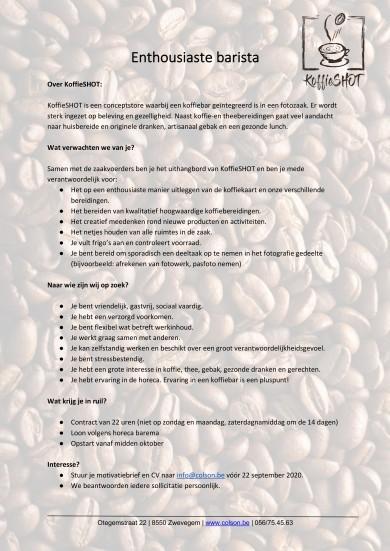 KoffieSHOT gaat op zoek naar een enthousiaste barista!l