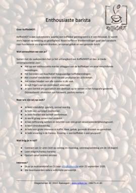 KoffieSHOT gaat op zoek naar een enthousiaste barista!